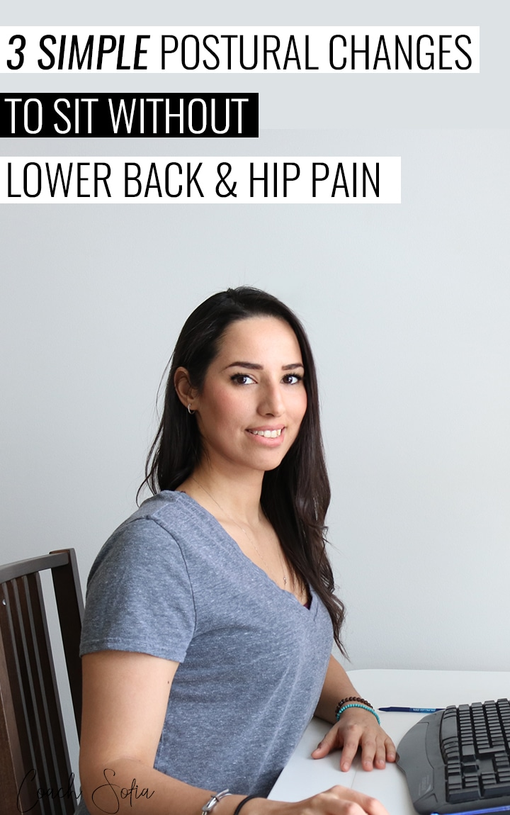 If you get lower back and hip pain after sitting at your desk...Here's a step-by-step video to show you some powerful postural techniques to help you reduce lower back and neck pain when sitting. These simple tweaks will help you get relief from the daily tension that builds up in your lumbar spine.