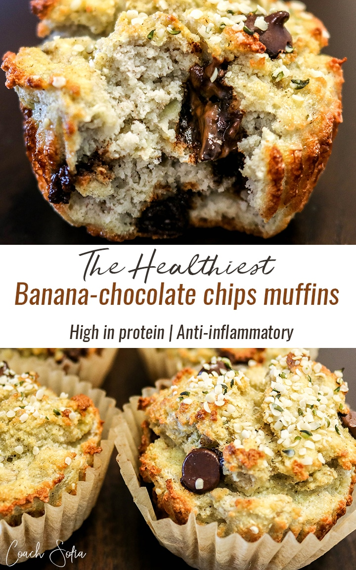 Here's a super healthy, low carb and high in protein recipe for banana chocolate chips muffins. These healthy muffins are made with coconut flour and contain no white sugar, no white flour and no hydrogenated oils. They're low carb muffins and also anti-inflammatory.